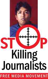 Large banner poster - 'Stop Killing Journalists - Free Media Movement'
